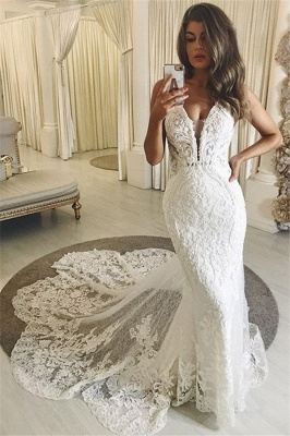 Sexy Straps Lace Fitted Mermaid Wedding Dresses With Chapel Train