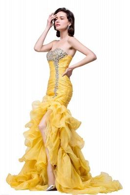 Elegant Sweetheart Mermaid Evening Gowns Side-Slit Crystal Ruffles Prom Dresses_4