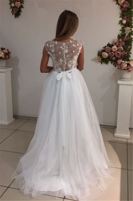 Cap-Sleeves A-Line Glamorous Tulle White Appliques Wedding Dresses_4