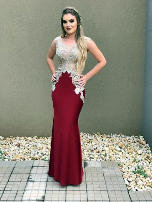 Mermaid Delicate Sleeveless Lace Crystal Straps Prom Dress_2