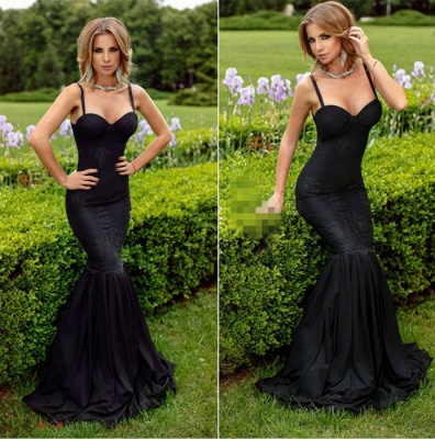 Spaghetti-Straps Sexy Sweetheart Sexy Mermaid Lace Appliques Black Evening Dress_3
