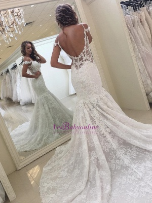 White Off-the-shoulder Mermaid Lace Modern Wedding Dress_1