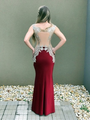 Mermaid Delicate Sleeveless Lace Crystal Straps Prom Dress_3