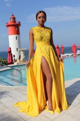 Chiffon Side-Slit Sleeveless Sexy High-Neck Yellow Long Evening Dresses_3