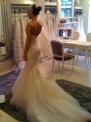 Spaghettis Straps Lace Beading Backless Mermaid Wedding Dress_4