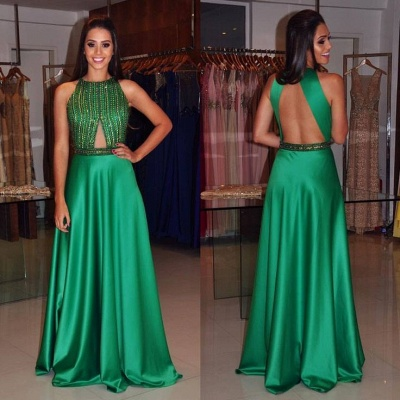 2019 Green Prom Dresses Sleeveless Beading A-line Long Evening Gowns_3