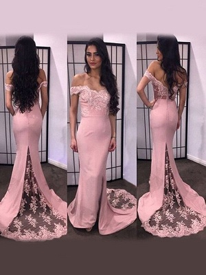 Mermaid Lace Prom Dress | Off-the-Shoulder Appliques Evening Dress_1