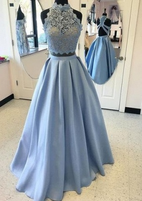 2019 Two-Piece Prom Dresses High Neck Lace Beading Puffy Evening Gowns_2