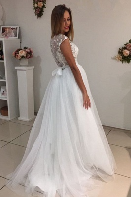 Cap-Sleeves A-Line Glamorous Tulle White Appliques Wedding Dresses_3