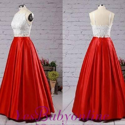 2019 Two-Piece Prom Dresses Spaghettis Straps White Red with Pockets Graduation Dress_1