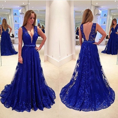 Elegant V-Neck Sleeveless Prom Dresses | Backless Royal Blue Evening Dresses_3