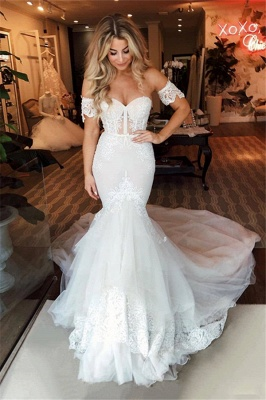 Off The Shoulder Sweetheart Applique Fit And Flare Mermaid Wedding Dress_1