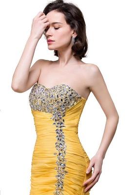 Elegant Sweetheart Mermaid Evening Gowns Side-Slit Crystal Ruffles Prom Dresses_6