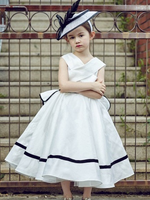 V-Neck Zipper-Up Bowknot Tea-Length Flower Girl Dress