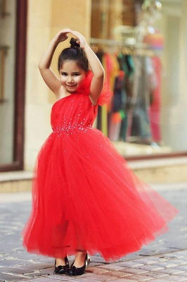 Sweet Red One Shoulder Tulle Long Flower Girl Dress | Affordable Crystal Floor Length Dresses for Girls_1