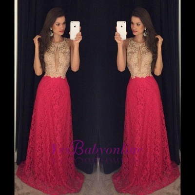 2019 Keyhole Neck Lace Prom Dresses Sleeveless A-line Evening Gowns_1