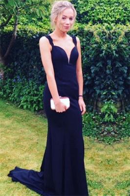 Long Two-straps Elegant Sweep-Train Mermaid Prom Dress_2
