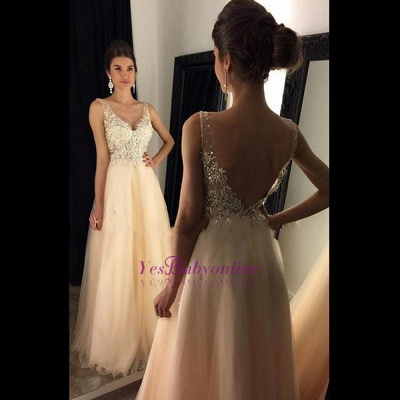 A-line Open-Back V-Neck Beaded Long Lace Champagne Prom Dresses_1