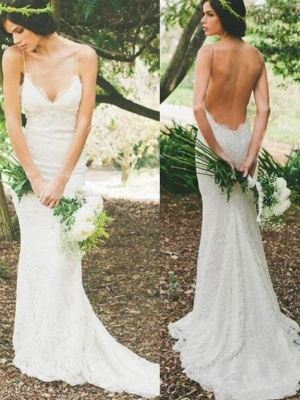 Sexy Lace Mermaid Wedding Dresses | Spaghetti Straps Summer Beach Bridal Gowns_1