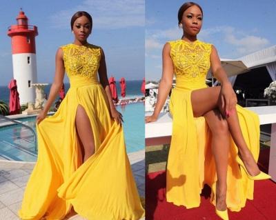 Chiffon Side-Slit Sleeveless Sexy High-Neck Yellow Long Evening Dresses_4