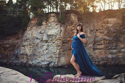 Maternity Off-the-shoulder Sweep-Train Front-Split Sexy A-line Prom Dress_1