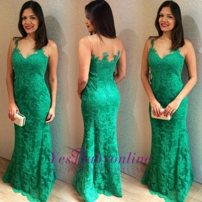 2019 Green Lace Prom Dresses Sleeveless Simple Mermaid Evening Gowns_1