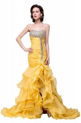 Elegant Sweetheart Mermaid Evening Gowns Side-Slit Crystal Ruffles Prom Dresses_2