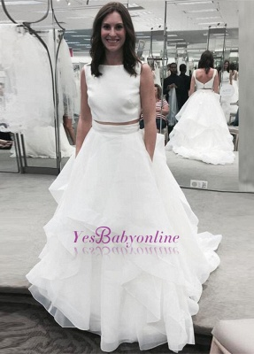 Jewel White Two-Piece A-line Ruffles Modern Sleeveless Wedding Dress_1