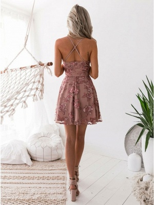 A-Line Pink Floral Homecoming Dresses | Spaghetti Straps Lace Appliques Cocktail Dresses_4
