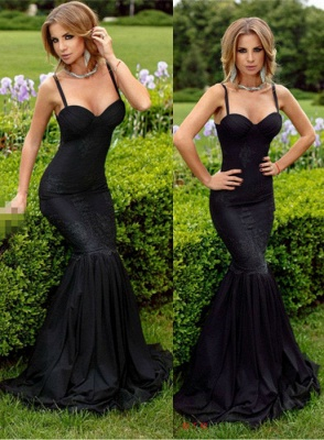Spaghetti-Straps Sexy Sweetheart Sexy Mermaid Lace Appliques Black Evening Dress_2