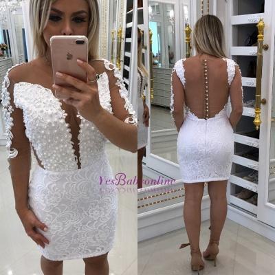 White Short Little Cocktail Long-Sleeve Party Dresses_1