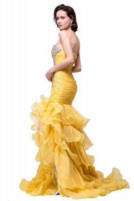 Elegant Sweetheart Mermaid Evening Gowns Side-Slit Crystal Ruffles Prom Dresses_7