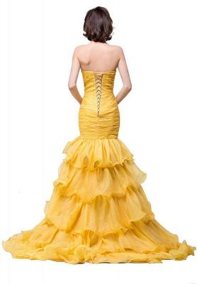 Elegant Sweetheart Mermaid Evening Gowns Side-Slit Crystal Ruffles Prom Dresses_3
