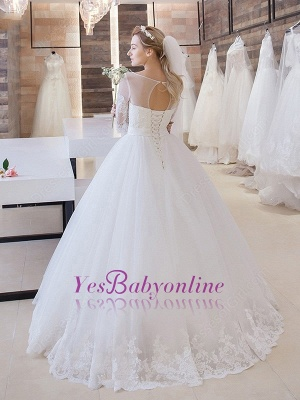 Glitter Lace Half-Sleeve Floor-Length Princess Lace-Up Wedding Dress_1