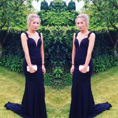 Long Two-straps Elegant Sweep-Train Mermaid Prom Dress_3