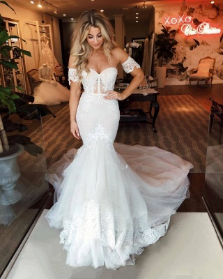 Off The Shoulder Sweetheart Applique Fit And Flare Mermaid Wedding Dress_2