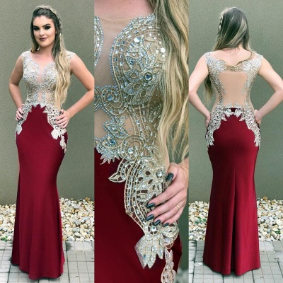 Mermaid Delicate Sleeveless Lace Crystal Straps Prom Dress_6
