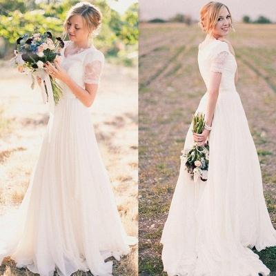 A-line Stylish Lace Popular V-neck Short-Sleeves Chiffon Wedding Dresses_3
