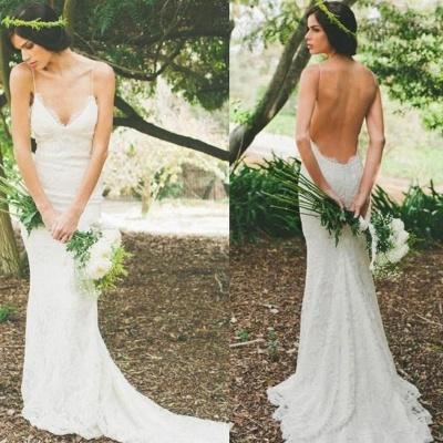 Sexy Lace Mermaid Wedding Dresses | Spaghetti Straps Summer Beach Bridal Gowns_3