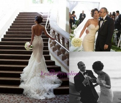 Sweep-Train Tulle Spaghetti-Strap Backless Mermaid Glamorous Wedding Dresses_1
