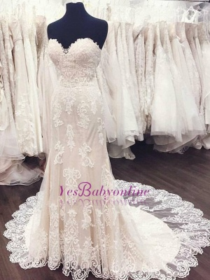Sweetheart White Lace A-Line Elegant Weeding Dresses_1