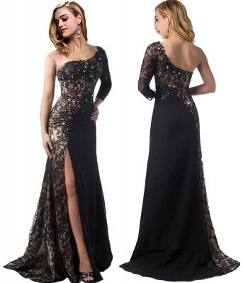 Long-Sleeve One-Shoulder Mermaid Front-Split Stylish Black Prom Dress_3