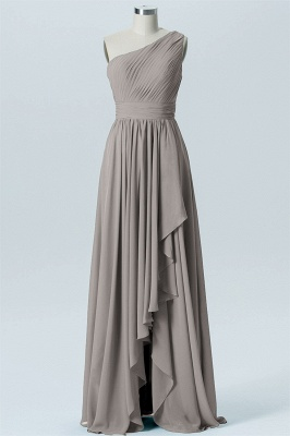 A Line Chiffon Hi-Lo One Shoulder Bridesmaid Dresses with Ruffles_4