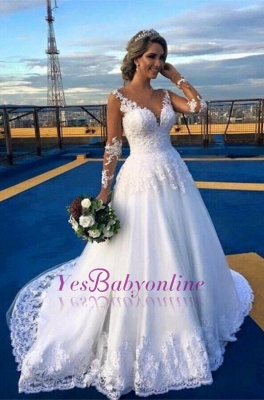 Appliques Lace Glamorous Long Sleeves A-Line V-Neck Wedding Dress_1