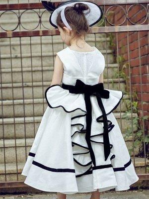 Cute V-Neck Zipper-Up Bowknot Tea-Length Flower Girl Dress_1