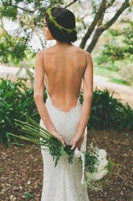 Sexy Lace Mermaid Wedding Dresses | Spaghetti Straps Summer Beach Bridal Gowns_5