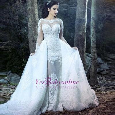 Form Fitting Overskirt Long Sleeves Glitter Lace Wedding Dresses_1