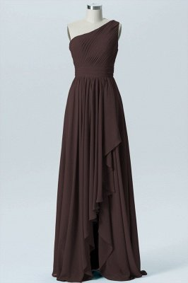 A Line Chiffon Hi-Lo One Shoulder Bridesmaid Dresses with Ruffles_2