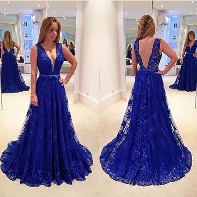 Elegant V-Neck Sleeveless Prom Dresses   Backless Royal Blue Evening Dresses_3
