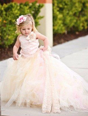 Lovely Sleeveless Tulle Flower Girl Dress With Long Train And Flowers_1